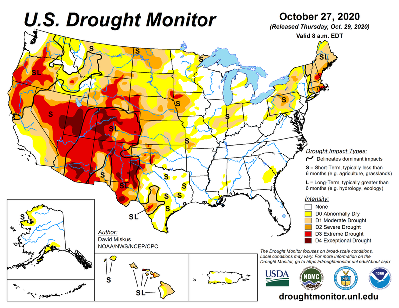 Map showing the extent of drought in the continental United States as of 27 October 2020