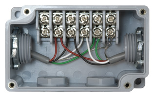 Junction box detail showing daisy chain wiring