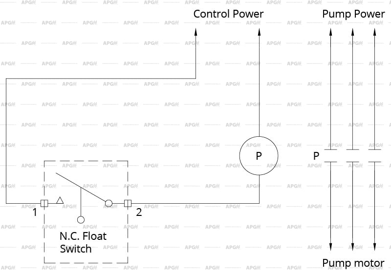 wiring diagram for a single 2-wire normally closed float switch
