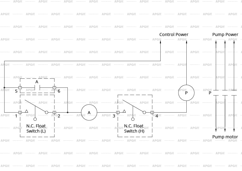 wiring diagram for two normally closed 2-wire float switches
