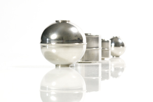 a row of stainless steel floats