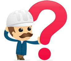 mascot with hard hat leaning on big red question mark