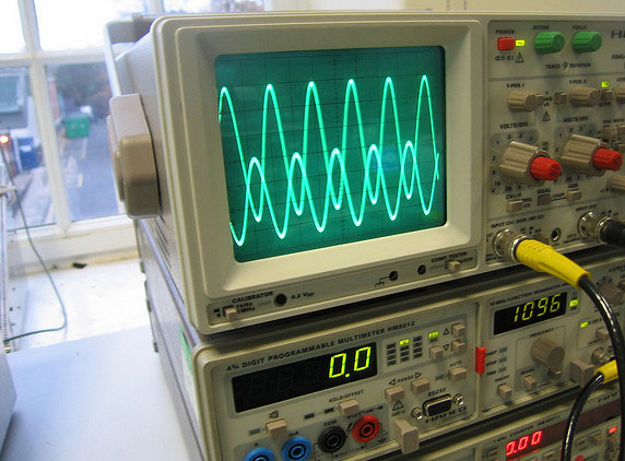 oscilloscope and multimeter stacked