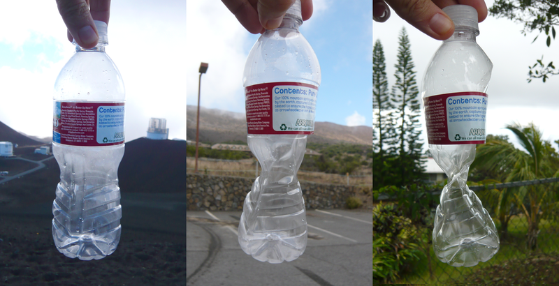Plastic bottle affected by changing atmospheric pressure