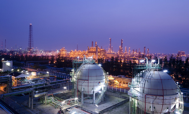 Night lights at an oil refinery