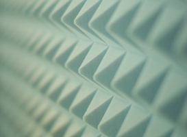 Sound proofing has an uneven surface that dissipates sound