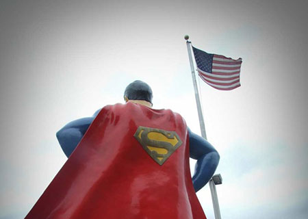Superman and American Flag