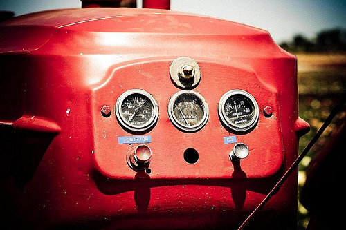 gauges on a red tractor