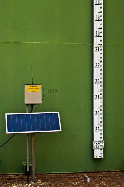 Physical Depth Measure and Solar Panel on Green Water Tank