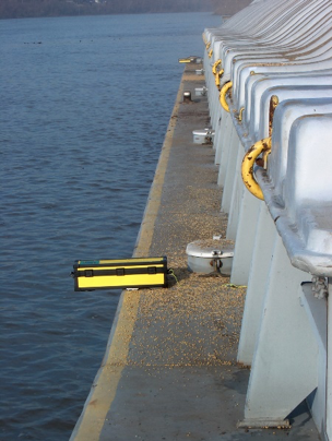 Ultrasonic level sensor used to measure the draft of barges