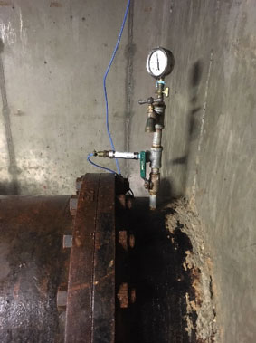 Pressure transmitter monitor city water flow rate